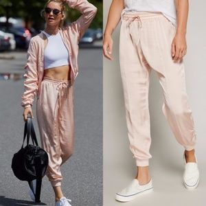 Free People Luxe Satin Jogger Pants